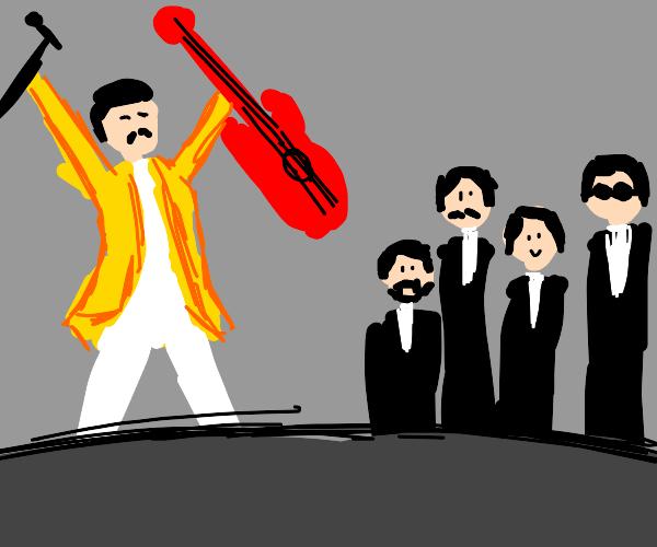 Freddie Mercury with guitar vs The Beatles