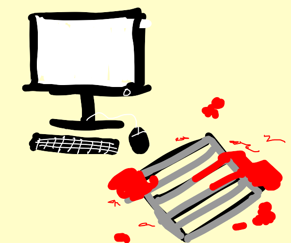 Bloody vent and computer screen