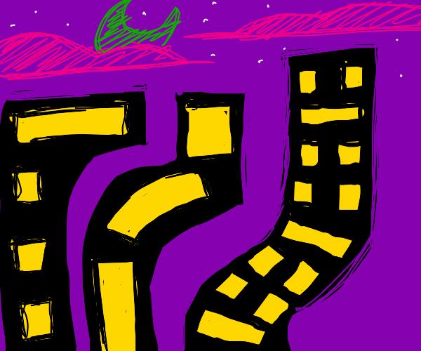 Wavy neon city