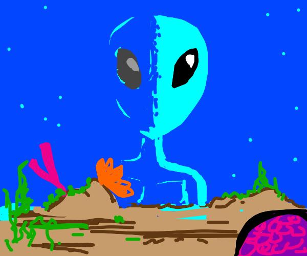 Giant alien is stranded on the ocean floor