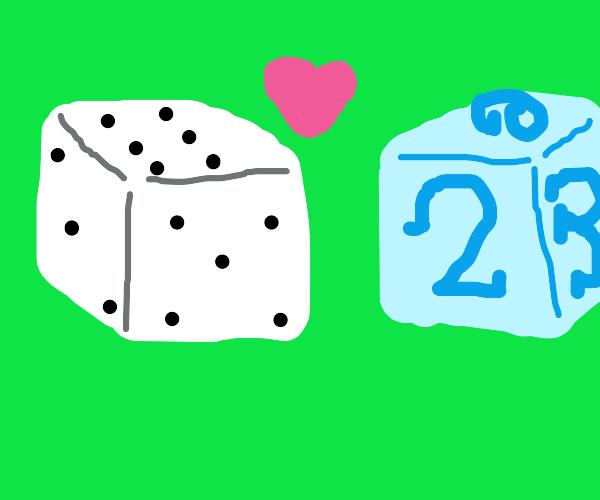 Regular dice loves fancy dice