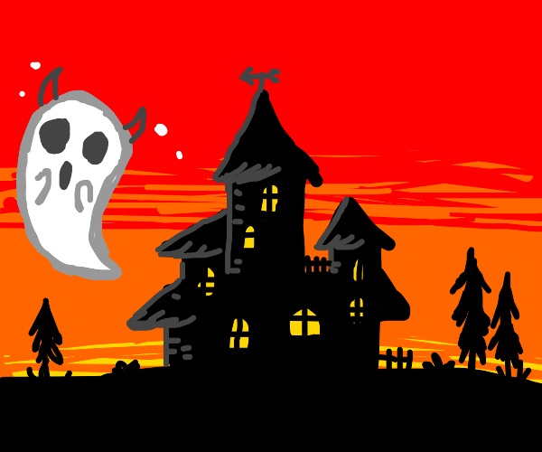 haunted demon house - red - red evil house