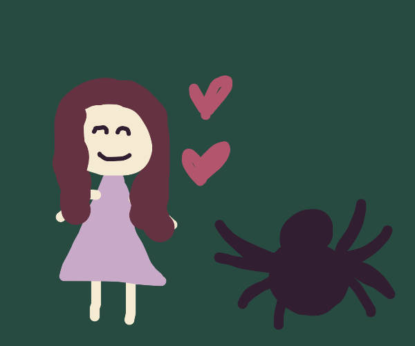 A girl and a spider are best friends