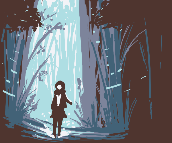 Hooded person lost in the bamboo forest