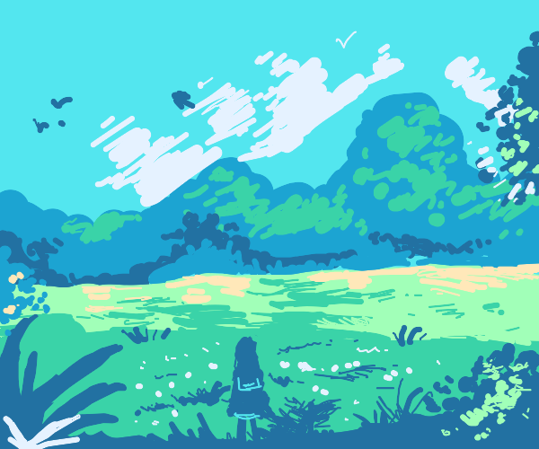 A girl looks at serene landscape
