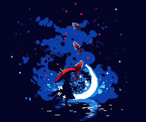 Enchanted night with magical koi fish