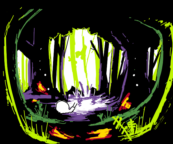 A snail in a vibrant green forest