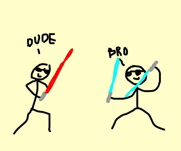 dudes with lightsabers