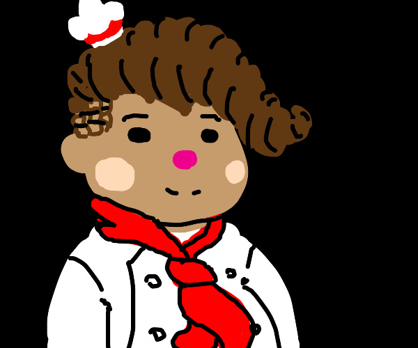 a chef with a pink nose