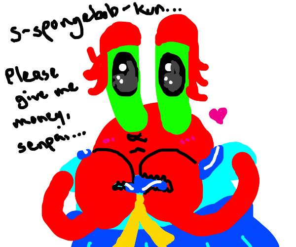 cursed anime mr krabs