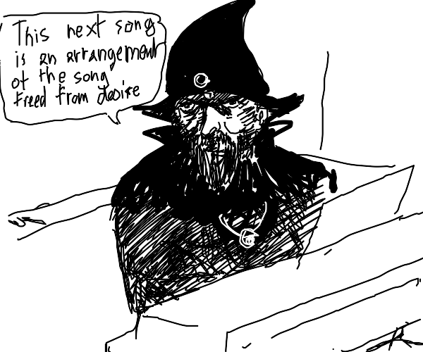 A dark wizard playing the keyboard