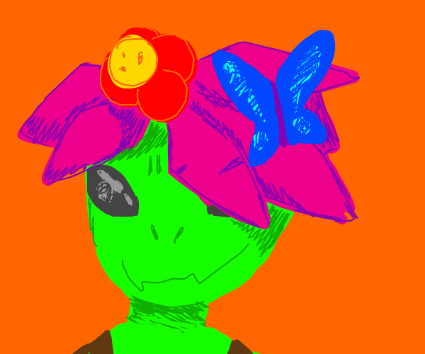 Monster girl with blue butterfly in her hair