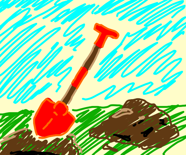 A shovel with a red handle