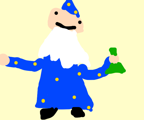Picture of wizard holding green science