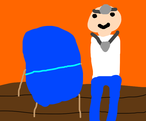 armless Doctor by a chair