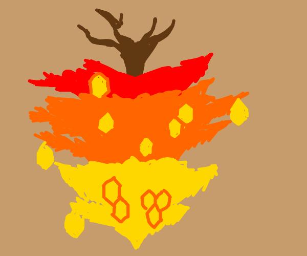 Upside down xmas tree with honey ornaments