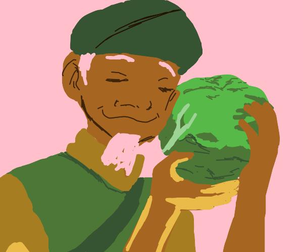 Portrait of cabbage man