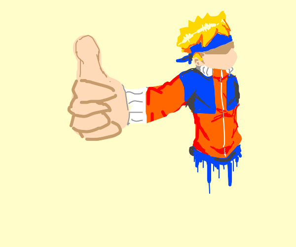 eye-less, mouth-less naruto thumbs up-ing