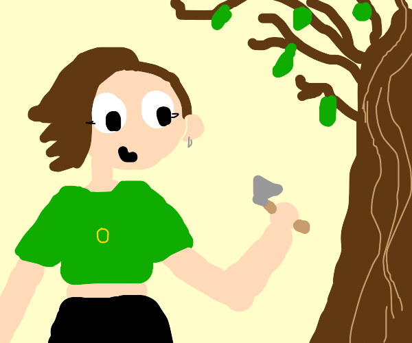 girl with a tiny axe