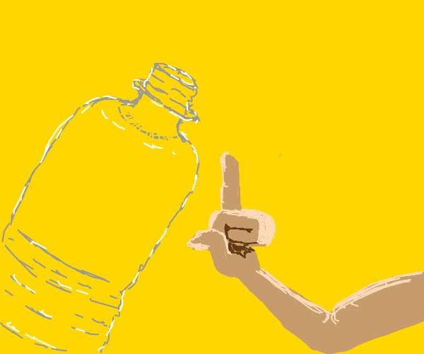 man holds middle finger up to bottle
