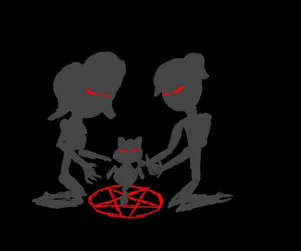 demon girl and demon boy summon demon cat