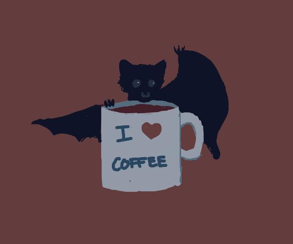 bat enjoying a cup of coffee