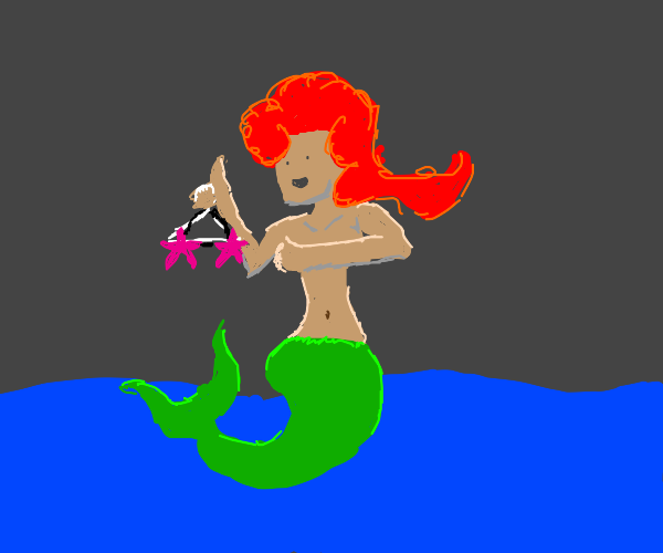 Ariel tries on sea stars. Also,she's got fire