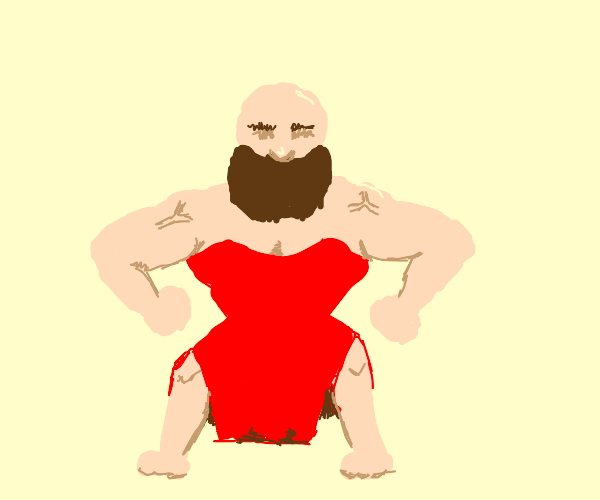 Bearded dude in ONLY a red dress