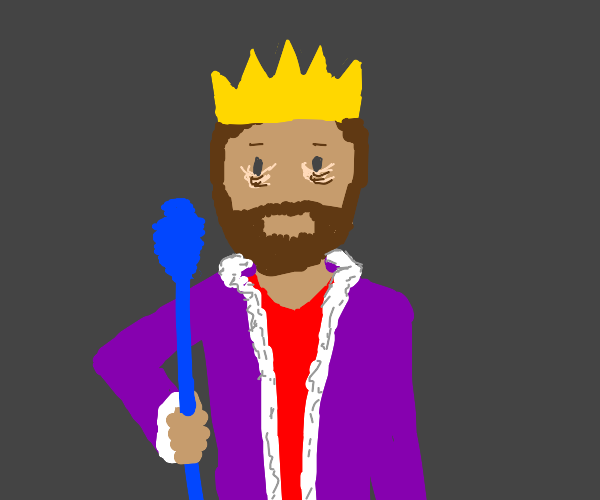King with eye bags and blue staff