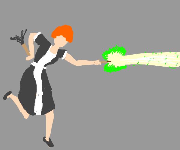 maid witch blasts beam of energy