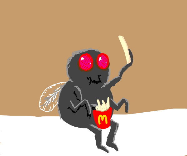 Fly eating some fries