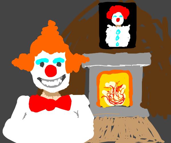 happy clown man in his clown house