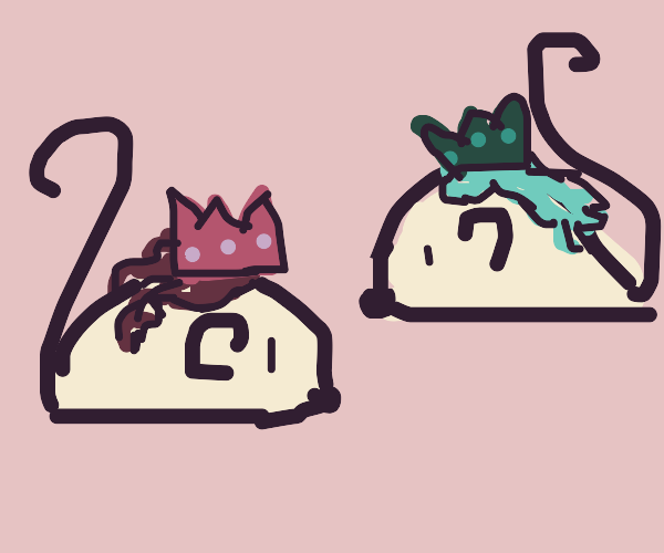2 mouses dressed as princesses