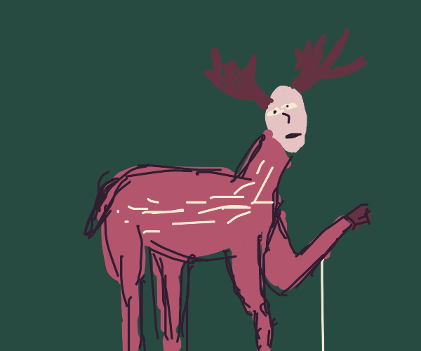 Deer with human face and antennas