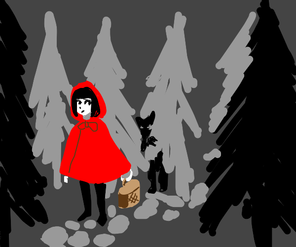 Red riding hood being stalked by the wolf