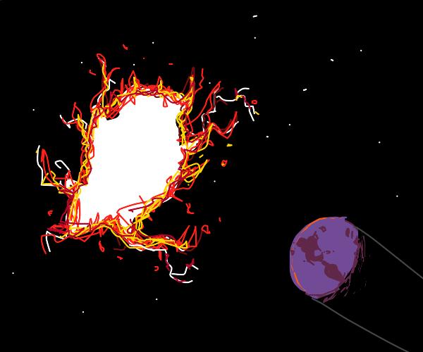 a firy rift in space opens near purple earth
