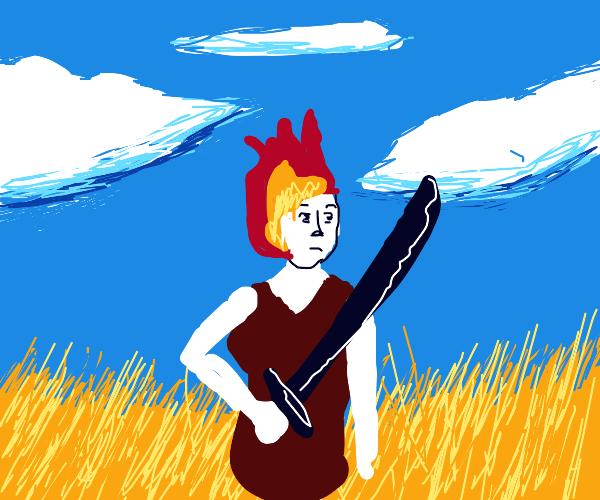 epic firelady with katana walks through field