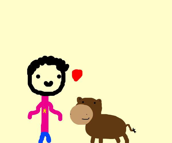 Steven (Universe) loves a horse