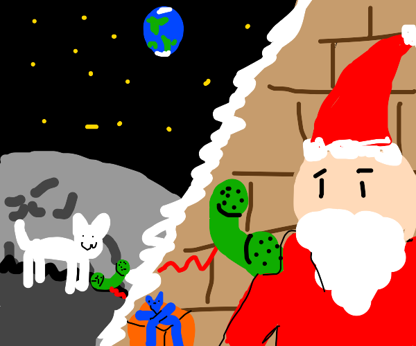 a Cat rings Santa from the moon