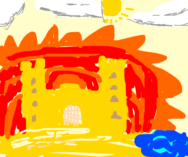 Sandcastle next to an explosion