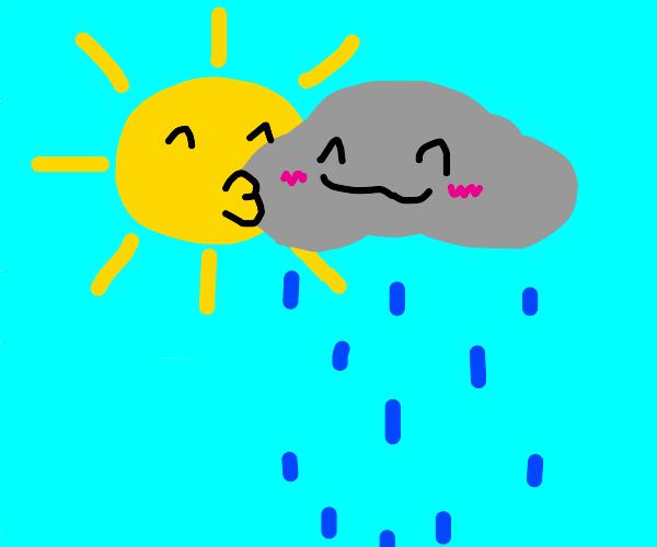 Sun kissing a rain cloud