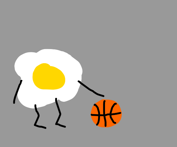 fried egg as a basketball player