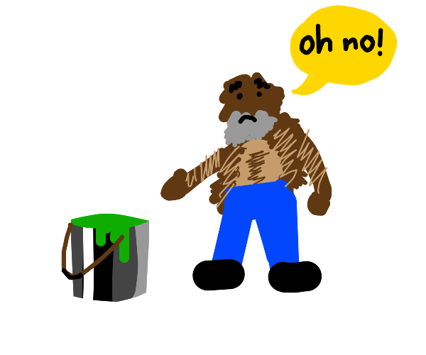 old man and hairy man are afraid of the green