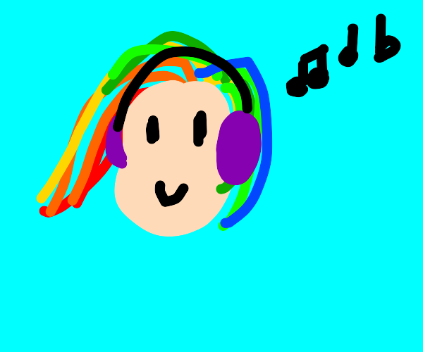girl with rainbow hair listening to music