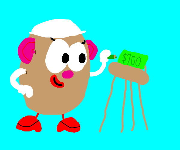 Female Potato draws a 100 dollar bill