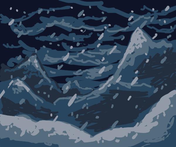 A mountain landscape in a blizzard