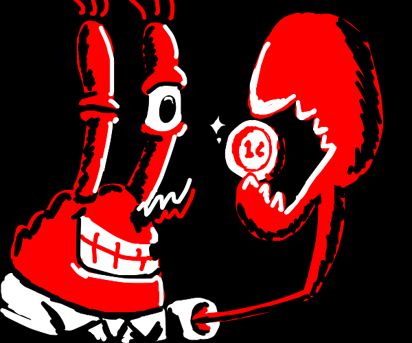 Mr Krabs holds a coin
