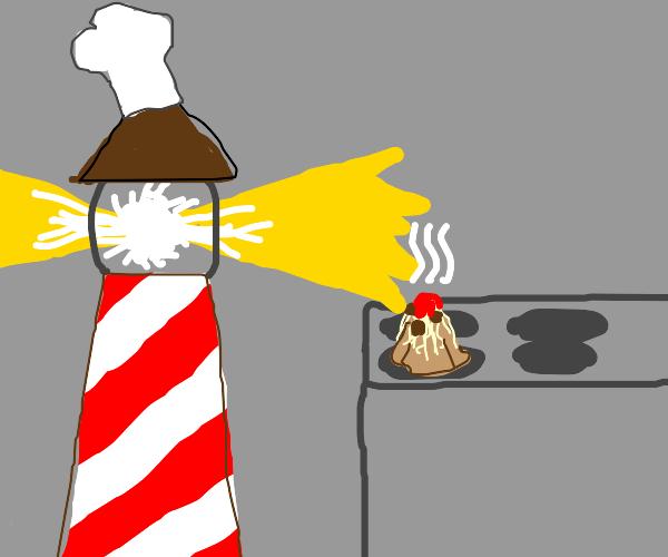 Lighthouse Chef Cooks Volcano Pasta