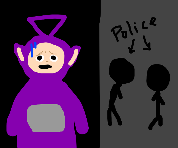 Teletubby Hides From Police in the Shadows