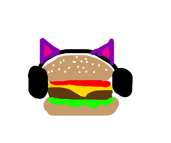 Cheeseburger with cat ears and headphones :)